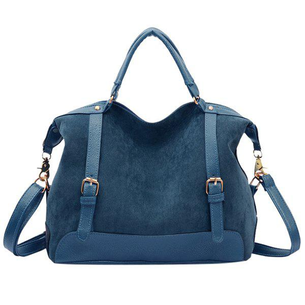 Street Style Splice and Buckles Design Tote Bag For Women - BLUE