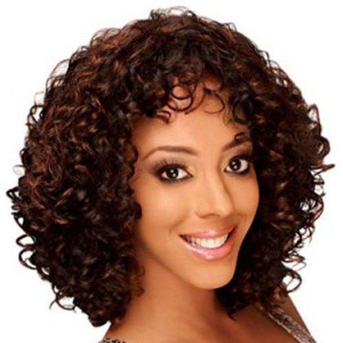 Vogue Dark Brown Medium Capless Shaggy Curly Synthetic Wig For Women - COLORMIX
