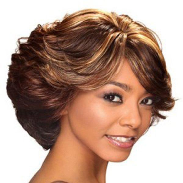 Nobby Short Haircut Mixed Color Capless Fluffy Side Bang Wave Women's Synthetic Wig - COLORMIX