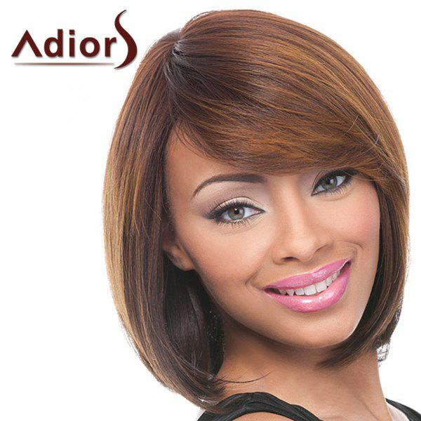 Elegant Straight Synthetic Brown Mixed Bob Style Short Women's Capless Adiors Wig - COLORMIX