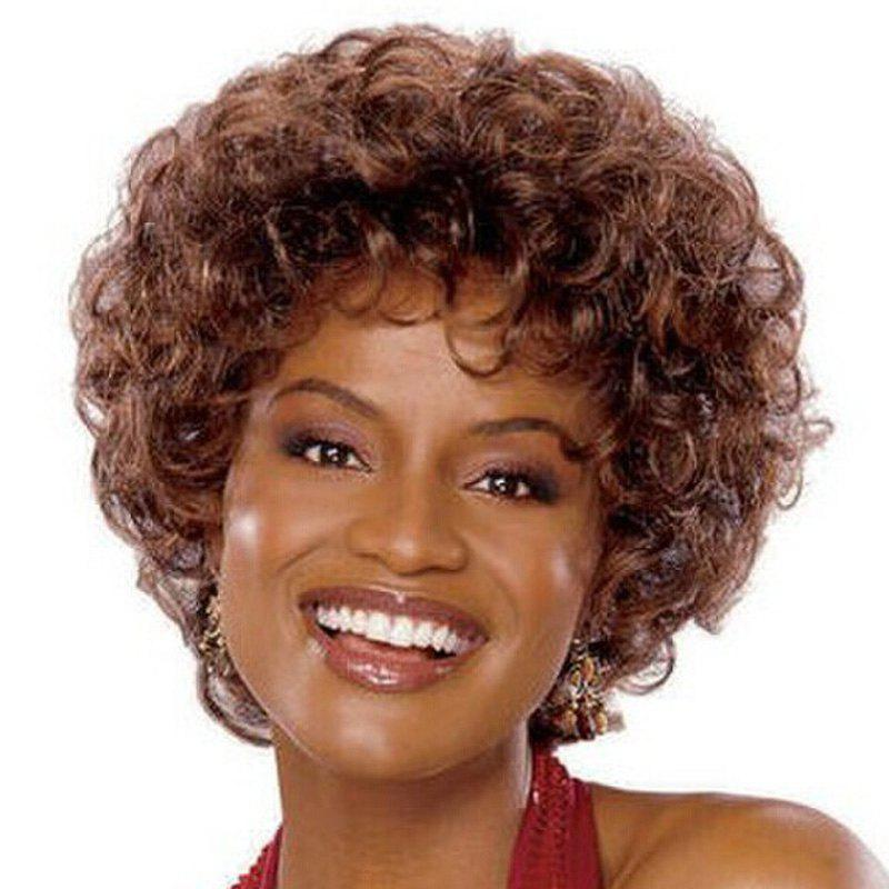 Shaggy Afro Curly Capless Fashion Short Brown Synthetic Wig For Women - COLORMIX
