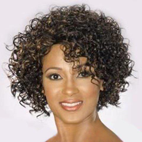 Fluffy Short Curly Heat Resistant Fiber Stylish Black Mixed Capless Wig For Women - COLORMIX