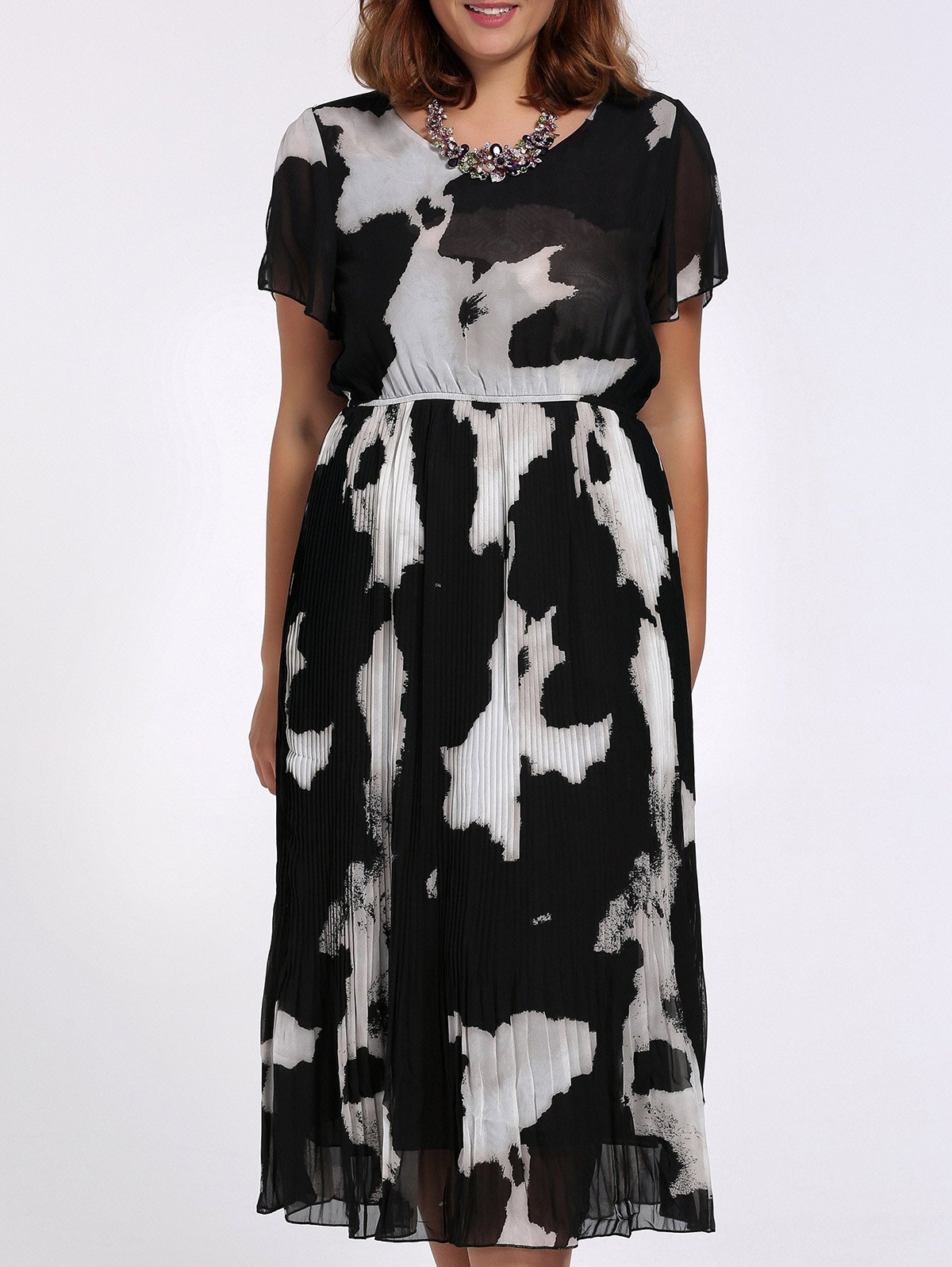 Chic Plus Size Pleated V Neck Printed Women's Dress