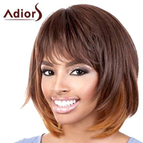 Graceful Medium Straight Synthetic Brown Ombre Capless Adiors Wig For Women - COLORMIX