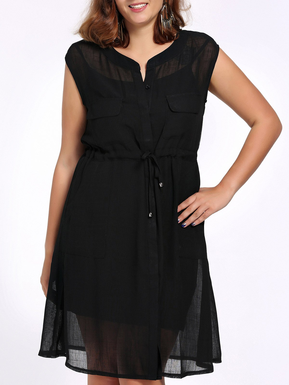 Chic Plus Size Cami Dress + Solid Color Sleeveless Cardigan Women's Twinset - BLACK 2XL