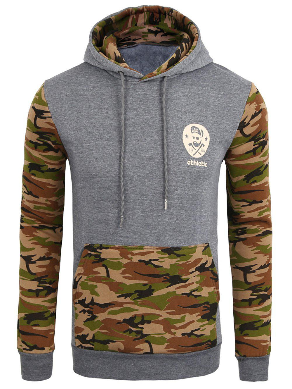 Vogue Hooded Camo Spliced Front Pocket Men's Long Sleeves Hoodie - ARMY GREEN XL