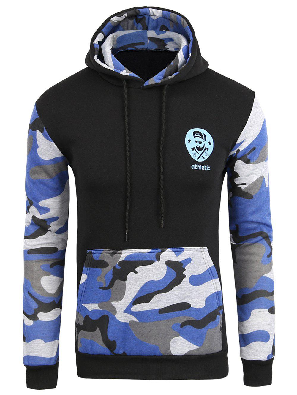 Vogue Hooded Camo Spliced Front Pocket Men's Long Sleeves Hoodie - SAPPHIRE BLUE XL