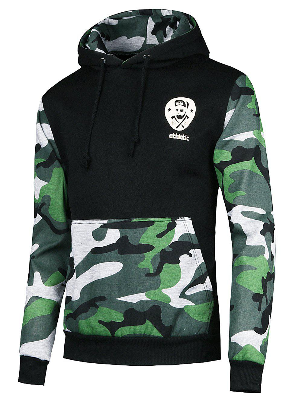 Vogue Hooded Camo Spliced Front Pocket Men's Long Sleeves Hoodie - BLACKISH GREEN S