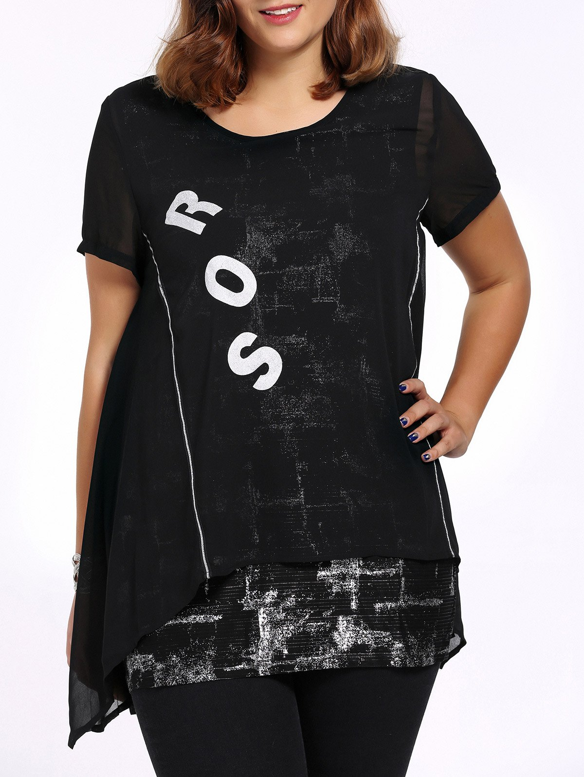 Chic Plus Size Faux Twinset Letter Print Women's Blouse - BLACK 4XL