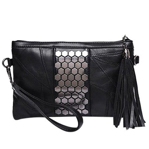 Trendy Black and Metal Design Women's Clutch Bag - BLACK