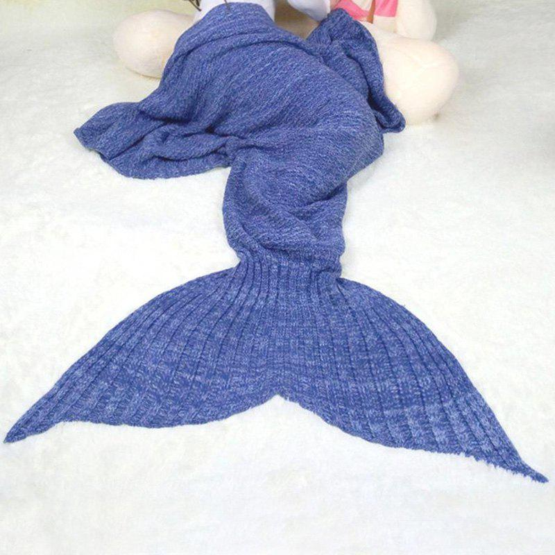 Chic Quality Comfortable Solid Color Handmade Wool Knitted Mermaid Design Throw Blanket - BLUE M