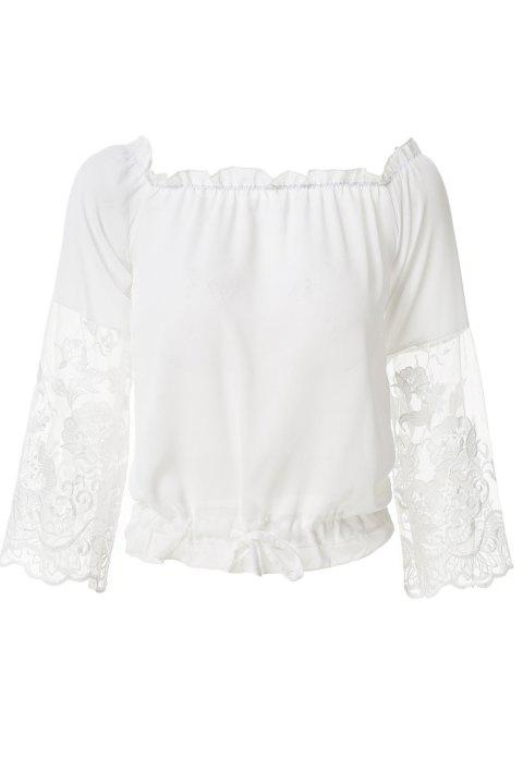 Fashionable Slash Neck Solid Color Lace Splicing Tie-Up Blouse For Women - WHITE S