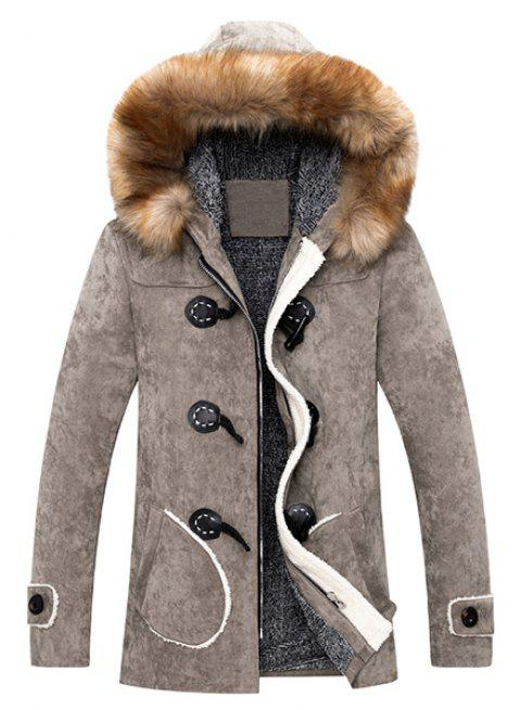 Men's Retro Style Single Breasted Hooded Fur Collar Solid Color Coat - KHAKI 2XL