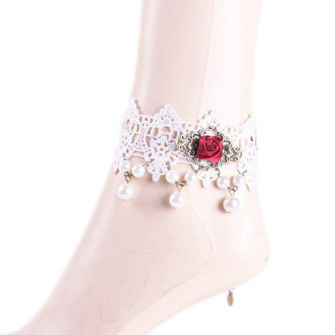 Stunning Faux Pearl Rose Flower Anklet - WHITE