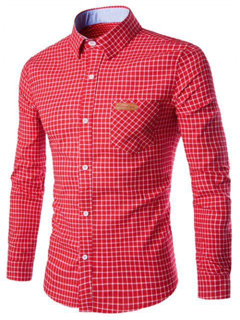 Checked Pocket Design Turn-Down Collar Long Sleeve Men's Shirt - RED M