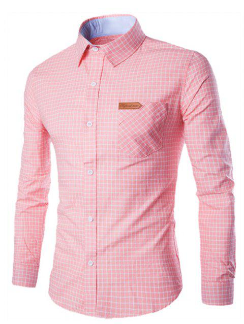 Checked Pocket Design Turn-Down Collar Long Sleeve Men's Shirt - PINK L