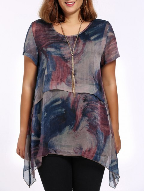 bb4d709f7dc 17% OFF] 2019 Chic Plus Size Printed Asymmetric Women's Blouse In ...