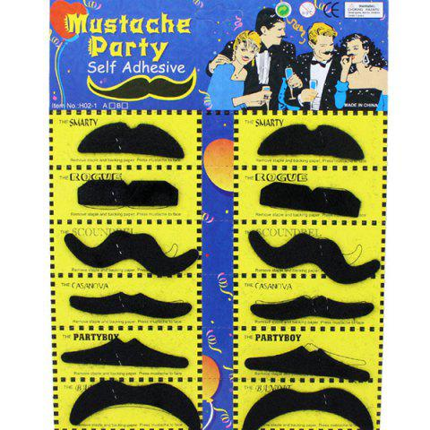 Halloween Self-Adhesive Mustache Cosplay Prop For Fancy Ball Party Show - BLACK