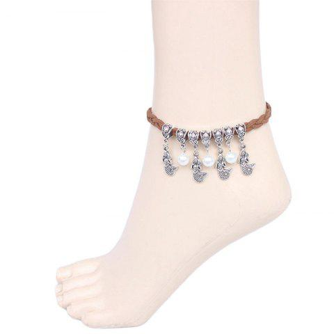Retro Style Faux Pearl Mermaid Anklet For Women - FLAXEN
