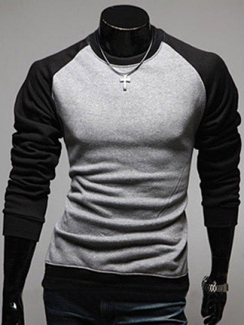 Raglan Sleeve Color Block Round Neck Men's Sweatshirt - GRAY M