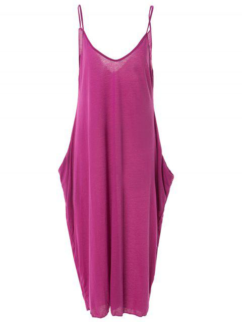 Stylish Spaghetti Strap Solid Color Loose-Fitting Women's Maxi Dress - PURPLE M