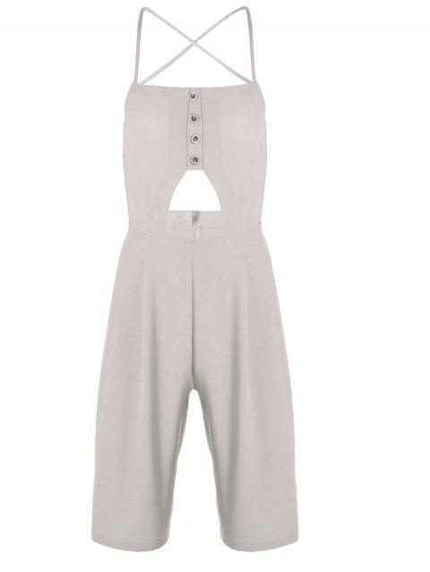 Trendy Apricot Spaghetti Strap Backless Jumpsuit For Women - APRICOT M
