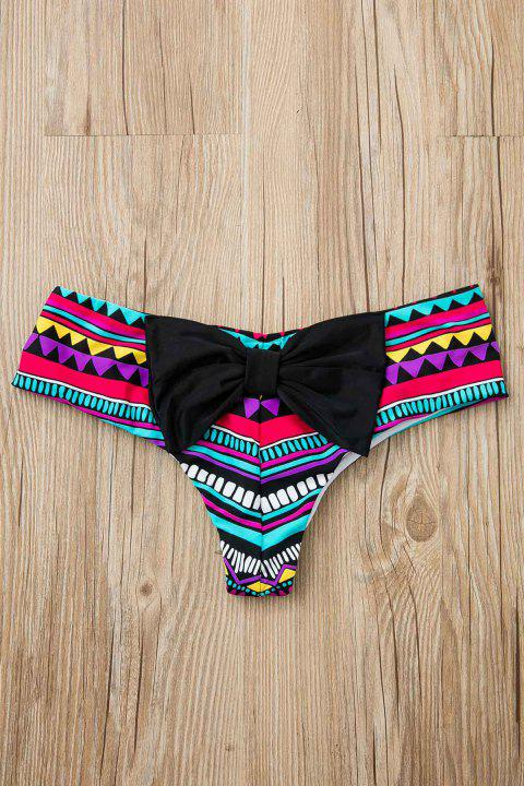 Sexy Cadrage Imprimer bowknot embellies Slips femmes - multicolore M