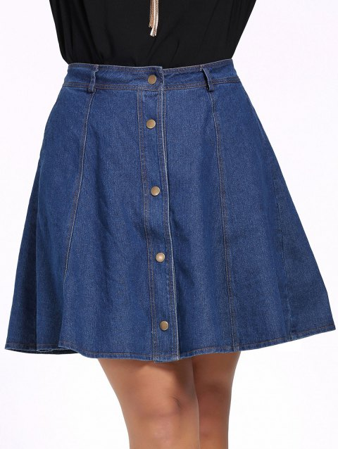 ca32eb11a28 17% OFF  2019 Chic Plus Size Pure Color Button Down Denim Skirt In ...