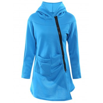 Stylish Hooded Long Sleeve Asymmetrical Loose-Fitting Women's Hoodie