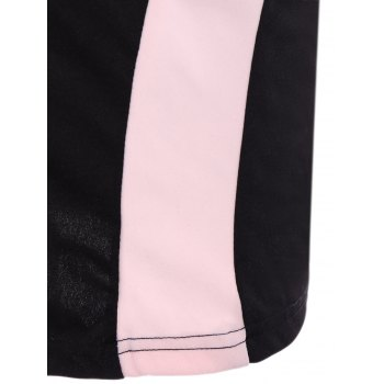 Alluring Women's Scoop Neck Sleeveless Hollow Out Color Block Dress - BLACK/PINK BLACK/PINK