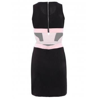 Alluring Women's Scoop Neck Sleeveless Hollow Out Color Block Dress - S S