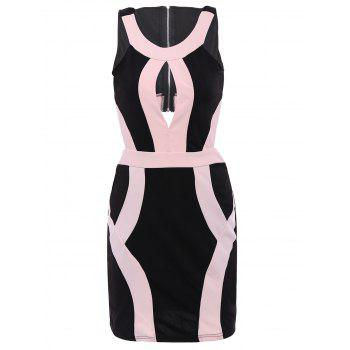 Alluring Women's Scoop Neck Sleeveless Hollow Out Color Block Dress - BLACK AND PINK S