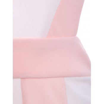 Alluring Women's Scoop Neck Sleeveless Hollow Out Color Block Dress - PINK PINK