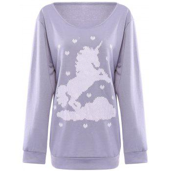 Endearing Skew Neck Horse and Heart Printed Pullover Sweatshirt For Women