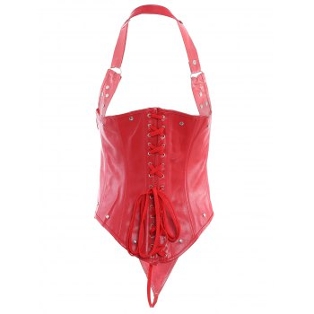 Chic Studded Button Design Faux Leather Women's Corset - RED 3XL