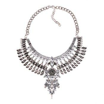 Exaggerated Layered Rhinestoned Necklace For Women