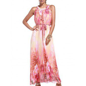 Floral Print Pleated Maxi Dress with Belt