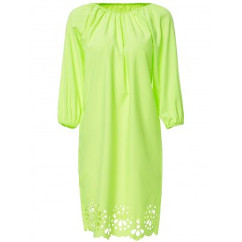 Sweet Neon Green Scoop Neck Openwork 3/4 Sleeve Blouse For Women