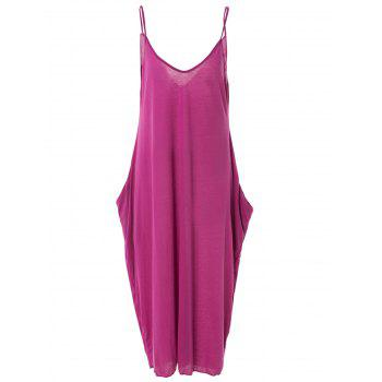 Stylish Spaghetti Strap Solid Color Loose-Fitting Women's Maxi Dress