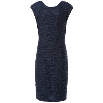 Stylish Round Collar Sleeveless Ruffled Solid Color Women's Sheath Dress - PURPLISH BLUE L