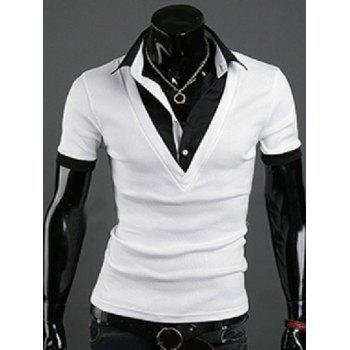 Faux Twinset Turn-Down Collar Short Sleeve Splicing Men's T-Shirt