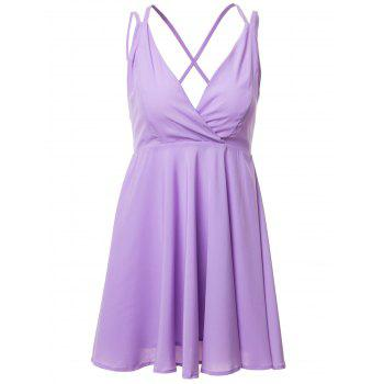 Sexy Style Spaghetti Strap Cross Backless Solid Color Sleeveless Dress For Women