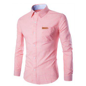 Checked Pocket Design Turn-Down Collar Long Sleeve Men's Shirt