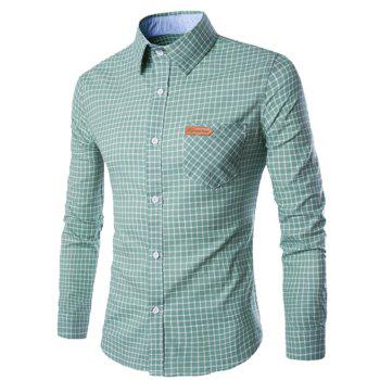 Buy Checked Pocket Design Turn-Down Collar Long Sleeve Men's Shirt GREEN