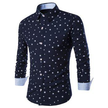 Stars Printed Turn-Down Collar Long Sleeve Men's Shirt