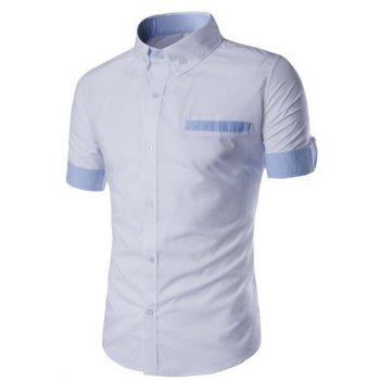 Splicing Design Edging Turn-Down Collar Short Sleeve Men's Shirt
