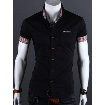 Buy Checked Edging Turn-Down Collar Short Sleeve Men's Shirt BLACK
