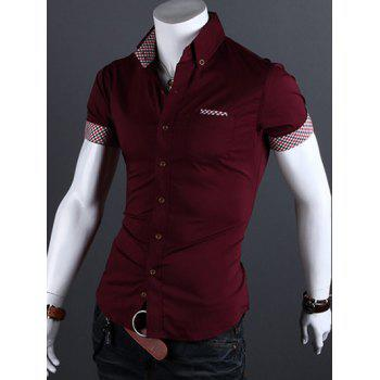 Checked Edging Turn-Down Collar Short Sleeve Men's Shirt - WINE RED L