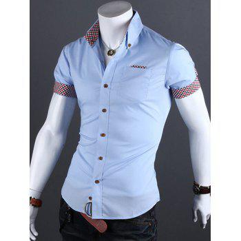 Checked Edging Turn-Down Collar Short Sleeve Men's Shirt