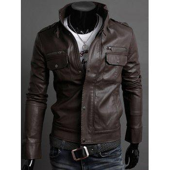 Belt Embellished Stand Collar PU-Leather Epaulet Long Sleeve Men's Jacket